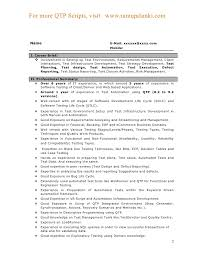 Resume Template Qtp Sample Resume For Software Testers Free