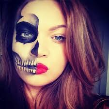 50 pretty makeup ideas minimal costume required makeup sugar skullhalf face
