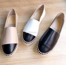 top quality espadrilles shoes black lambskin cap toe espadrille flats black white leather las women genuine leather designer shoes 34 42 whole shoes