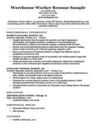 resume examples for warehouse worker 80 resume examples by industry job title free downloadable