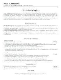 Sample Traders Resume Sales And Trading Resume Joefitnessstore Com