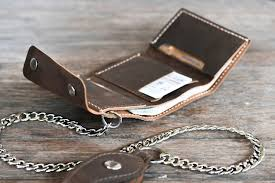 leather trifold chain wallet home