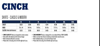 Cinch Jacket Size Chart True Cinch Size Chart 2019