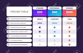 Pricing Table Comparison Business Web Plans Column Grid Design