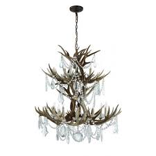 visual comfort rl5529bn cg ralph lauren straton double tier chandelier in natural antler with antiqued crystal