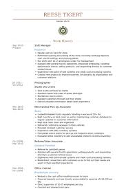 Shift Manager Resume samples