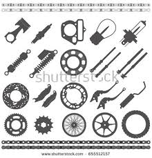 black silhouette icons motorcycle parts collectionflat stock