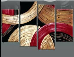 circles gold beige and red abstract wall art black canvas picture 4 panel oil silver best red and black wall decor
