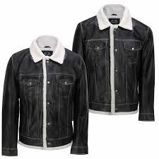 Designer Fur Jacket Men Details About Men Real Leather Retro Designer Style Black Faux Fur Lined Sherpa Trucker Jacket