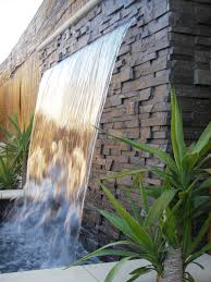 A Water Features For Backyard  Features Wall Sheer Descent  And Even The Back Yard
