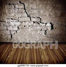 old room with brick wall clipart