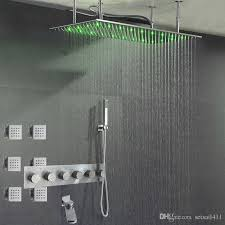 bathroom shower heads. 304 Stainless Steel Rain Bath Shower Faucet Brushed Set LED Light Mixing Valve Wall Conceal Chrome Water Spout Big Bathroom Heads