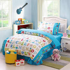 kids bedding twin children alphabet cotton set learning with reversible 6