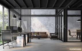 loft style office. Wonderful Loft Industrial Loft Style Office 3d RenderThere Are White Brick Wallpolished  Concrete Floor In Loft Style Office