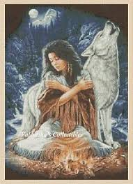 Details About Native American Girl And Wolf Counted Cross Stitch Chart No 3 347