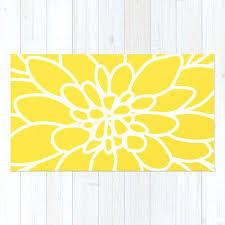 yellow and white rug modern dahlia flower rug area rug yellow and white flower rug modern
