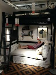 sofa bunk bed ikea gorgeous loft bed design ideas for teenager room black loft bed with sofa sleeper using white fabric cover also brown bedroom area rug