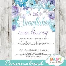 Snowflake Baby Shower Invitations Purple Turquoise Snowflake Baby Shower Invitations D401 Baby