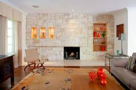 Textured stone accent wall in trendy living room