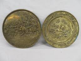 2 vntg embossed brass wall plates hunting themed