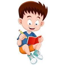 boy reading open book vector
