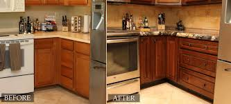 Kitchen Cabinet Restoration Restain Kitchen Cabinets Before And After Design Porter