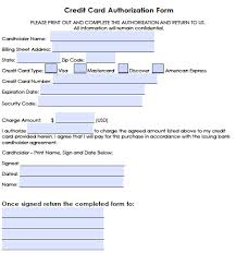credit card authorization form templates