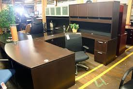 compel espresso bowfront u shape desk with hutch nashville office furniture