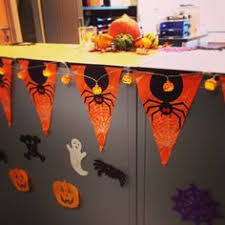 halloween office decorations. Halloween Office Decorations Using Mini Lanterns, Pumpkins And Rechargeable Tea Lights N