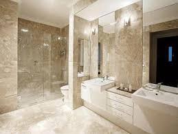 pics of bathroom designs: modern bathroom design with twin basins using frameless glass bathroom photo