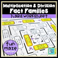 Multiplication And Division Fact Families Hard Worksheet