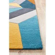 network rugs laura designer wool blue yellow grey rug