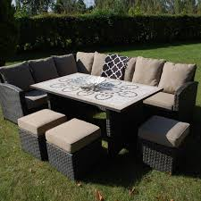 large garden furniture cover. Large Garden Dining Table, Outdoor Sofa And Footstools. Furniture Cover
