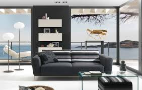 modern black white minimalist furniture interior. Furniture. Black Fabric Loveseat With Striped Backrest Added By Rectangle Glass Table On White Fur Modern Minimalist Furniture Interior W