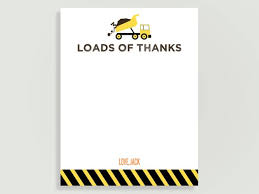 Construction Birthday Thank You Cards - Loads of Thanks - Dump truck ...