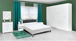 Schlafzimmer Komplett Set J Muros 8 Teilig Farbe Weiß Grau