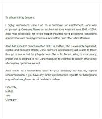 letter for job recommendation sample recommendation letters for employment 12 documents in word