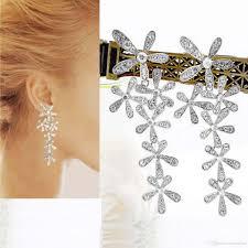 2018 long silver erfly diamante crystal tassel drop dangle chandelier earrings from creativebar 1 69 dhgate com