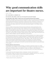 why good communication skills are important for theatre nurses why good communication skillsare important for theatre nurses 6 2004vol 100