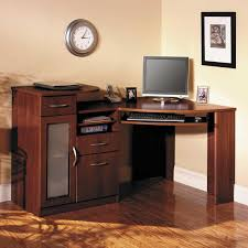 furniture brown wooden corner computer desk with sliding keyboard rack added by brown wooden drawers