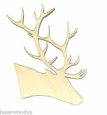 stag deer head unfinished wood shape cutout sd6404 crafts lindahl woodcrafts