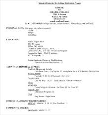 Student Resume Samples For College Applications Template S