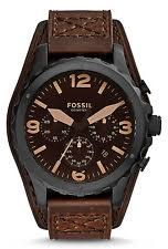 mens fossil cuff watch fossil jr1511 men s nate dark brown leather cuff band chronograph date watch