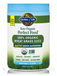 raw organic perfect food 100 organic wheat grass juice unflavored 4 2 oz 120 grams