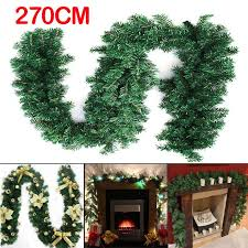 2 7m 9ft artificial green wreaths garland fireplace wreath for xmas new year tree home party decoration baubles decor