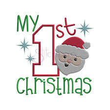 First Christmas Embroidery Design My First Christmas Applique Design 6 Sizes Products