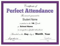 Recognition Awards Certificates Template Award Certificate Template For Perfect Attendance At School Free