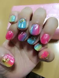 夏ネイルオーロラミラーネイル短い爪ネイル ネイル Nails Beauty