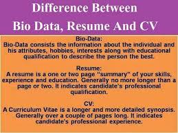 Bio Data Vs Resume Vs Cv Business English Themes Resume Bio