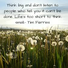 2 think big and don t listen to people who tell you it can t be done life s too short to think small an awesome e by tim ferriss